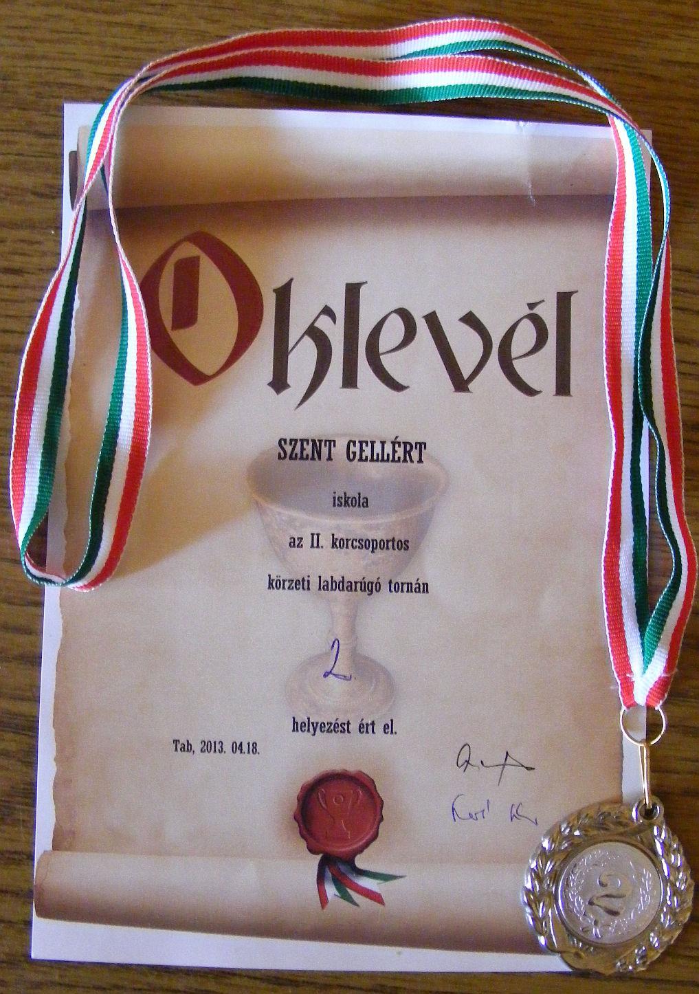 2. helyezett oklevél 2013