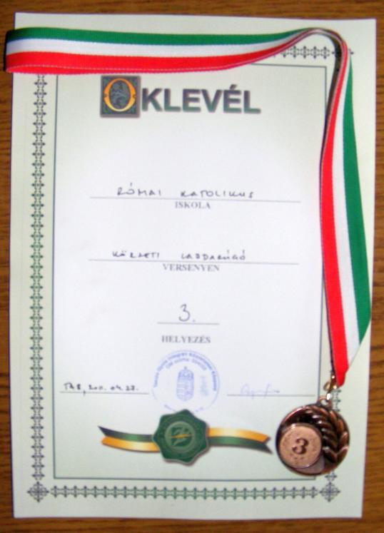 3. helyezett oklevél 2011